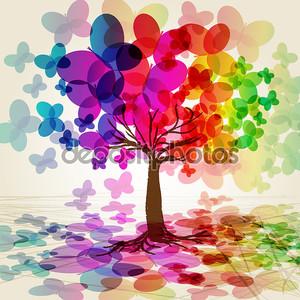 Абстрактный красочные дерево. Вектор.