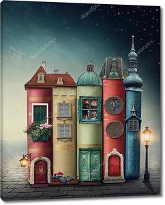 Волшебный город со старыми книгами