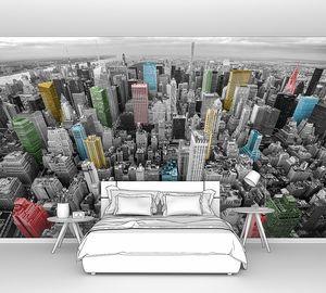 Город с высоты с цветными домами