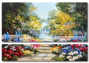пейзаж маслом - красочные летом леса, красивые цветы