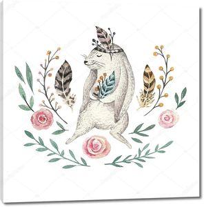Милый кролик с узором из перьев и цветов
