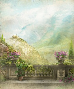 Вид с террасы на живописные горы