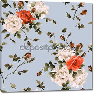 Акварель вьюнок и роз узор