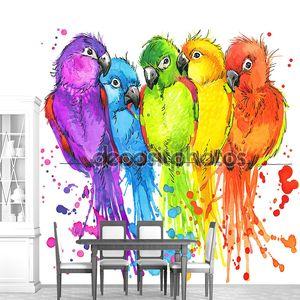 T-shirt graphics colorful parrots, illustration watercolor