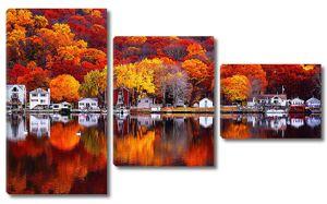 Осень. Городок на озере