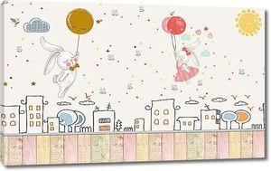 Зайки на шариках летят над городом