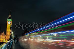 Биг Бен на ночь, Лондон, Великобритания.