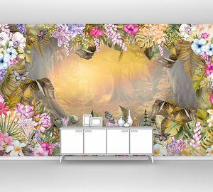 Рассвет в сказочном лесу в обрамлении цветов