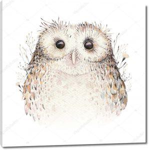 Акварельная миленькая сова