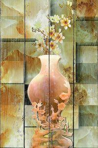 Мраморный фон-Китайская ваза, цветы, натюрморт