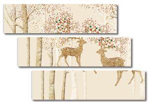Два оленя с цветущими рогами
