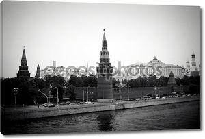 Черно-белое фото Московского Кремля