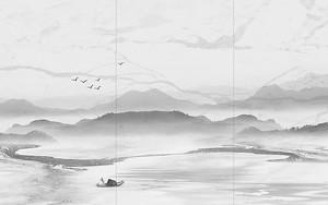 Озеро с горами на плитке