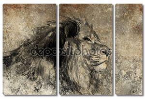 иллюстрации, сделанные с цифровым планшетом, Лев в сепии