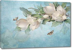 Полураскрытые бутоны с бабочками