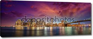 Нью-Йорк manhattan skyline p