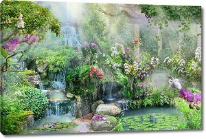 Лес с водопадом