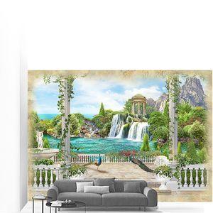 Вид на ротонду и водопад с павлинами