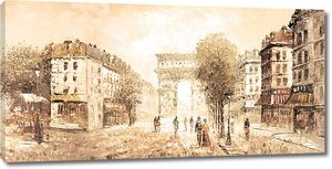 Фреска с видом на улицы Парижа