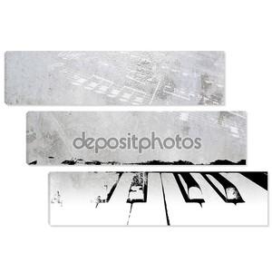 Ретро музыкальный фон - гранж фортепиано и примечания