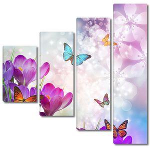 Бабочки над цветками