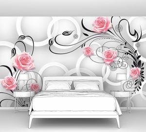 Узор с цветами на фоне кругов
