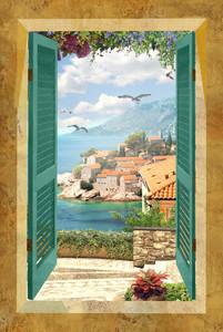 Красивый вид из окна на старый город