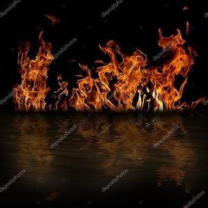 Огонь с отражением