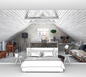 Интерьер современный чердак белый с столом у окна. 3D Визуализация дизайна