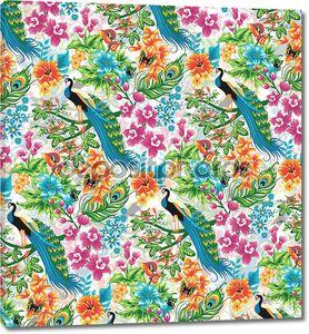 Бесшовный фон тропический с павлины и цветы.