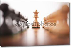 Два ряда шахмат пешки с белым королем центр