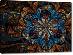 Темный золотой Фрактальный цветок, цифровые изображения для творческого графического дизайна
