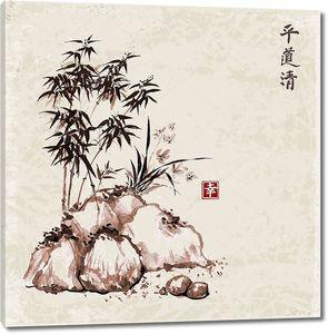 Бамбуковые листья. Японская живопись