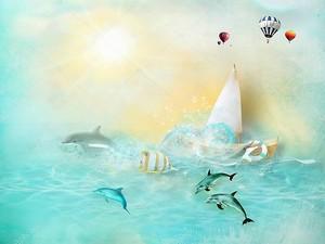 Восход над морем с парусником