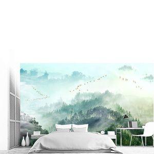 Лесные вершины в облаках