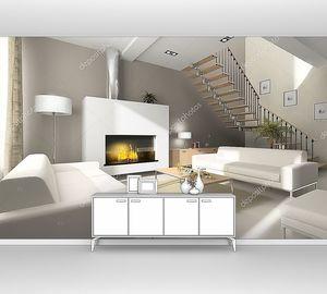 Интерьер комнаты с белым камином