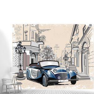 Ретро автомобиль находится на улице старого города