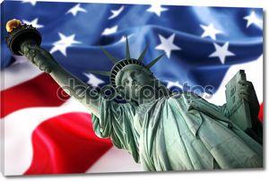 Нью-Йорк Статуя свободы против флаг вам