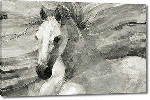 Конь с развивающейся гривой