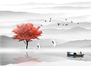 Красное дерево на фоне сопок