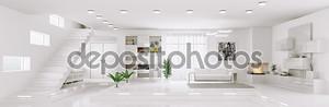 Белый квартиры Панорама интерьера 3d визуализации
