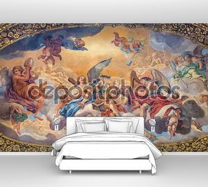 ROME, ITALY - MARCH 25, 2015: The symbolic painting The Glory of the Angels by Luigi Garzi (17. cent.) in ambulatory of baroque church Basilica dei Santi Ambrogio e Carlo al Corso.