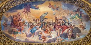 ROME, ITALY - MARCH 25, 2015: The symbolic painting The Glory of the Angels by Luigi Garzi (17. cent.) in ambulatory of baroque church Basilica dei Santi Ambrogio e Carlo al Corso.