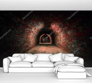 Длинный кирпичный туннель