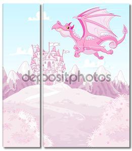 Волшебный Дракон на фоне принцесса замок
