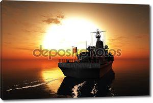 Корабль на фоне заходящего солнца