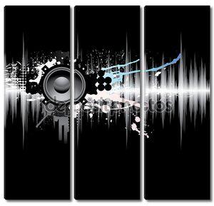 Абстрактный шаблон с звуковой волны и спикером.