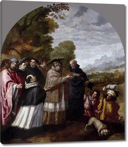 Кардучо Висенте. Приезд Св. Юга с шестью сподвижниками к св. Бруно в монастырь Шартрез