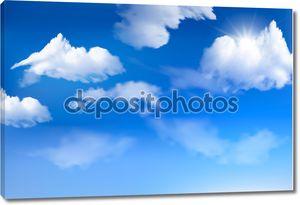 Голубое небо с облаками. Векторный фон.