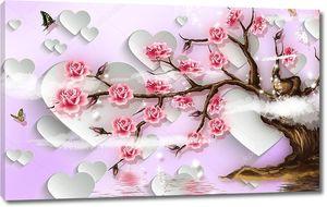 Белые сердца, цветущее дерево